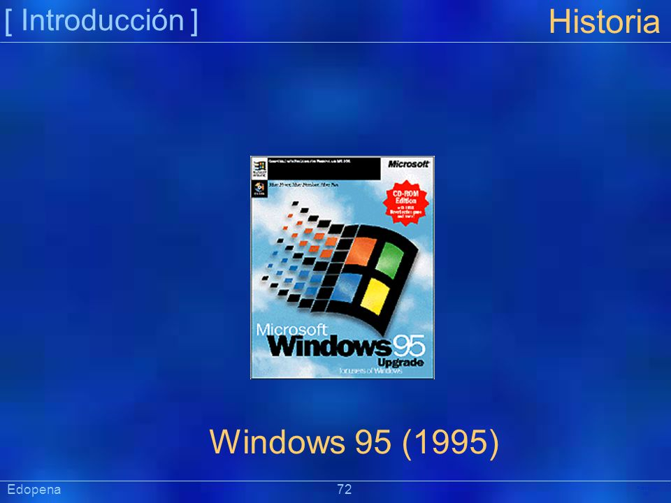 [ Introducción ] Historia. Windows 95 (1995) Edopena 72.